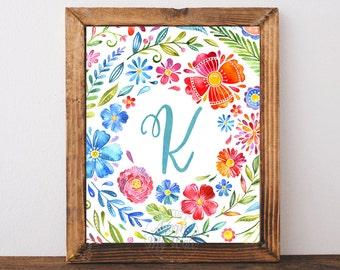 Letter K, Nursery Monogram, Initial Letter, Nursery Wall art, Nursery decor, baby girl Nursery, Letter K Print, Instant Download, Printable