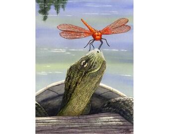 "Art card- ""Orange Dragonfly"""