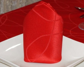 Luxury Red Napkins - Anti Stain Proof Resistant - Pack of 6 units - Ref. Lines