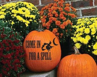 Pumpkin Decals | Halloween decor  | Trick or Treat Pumpkin Decals | Come in for a Spell Decal | Fall | Witch Decals  | Holiday Stickers