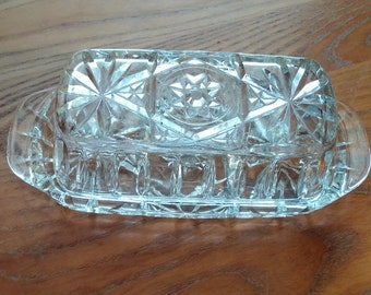 Vintage Anchor Hocking Early American PresCut Star of David Butter Dish Unused