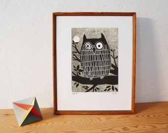 Owl 2 · original linocut · Limited Edition · DIN A5