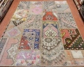 """Multi Pale Color Old Turkish Rug 5'7"""" x 8' Anatolian Vegetable Dyed Home Decor Bohemian Rug Puzzle Area Rug"""