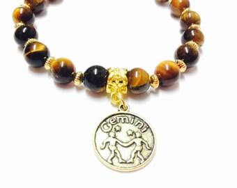 Gemini Bracelet - Tigers Eye Gemini Bracelet - Zodiac Bracelet - Elastic Gemini Bracelet -Beaded Gemini Bracelet -Birthstone Gemini Bracelet