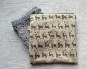 Wash bag, Grey Reindeer/Stag Wash Bag, mens wash bag