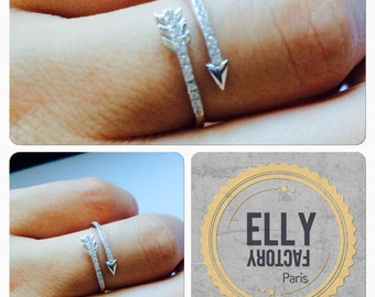 Ring fine arrow - silver & zyrconium
