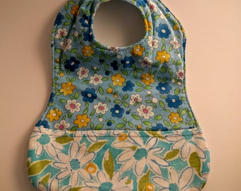 Blue Toddler Bib with Flowers