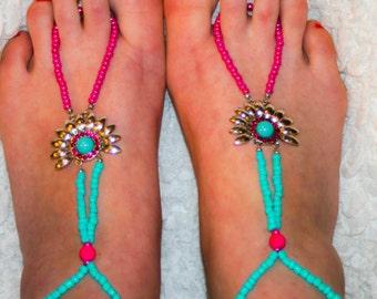 Turquoise and Hot Pink Barefoot Sandals, Barefoot Sandals Jewelry, Beaded Barefoot Sandals, Anklets, Boho, Boho Jewelry