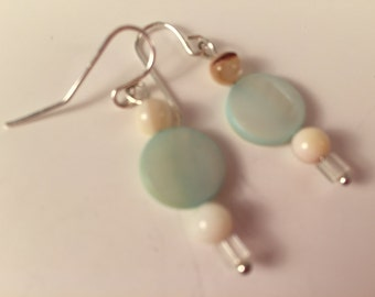 Blue Disk Dangle earrings