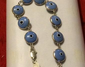 "Multi Colored ""Evil Eyes"" Bracelet, 925 Silver, shorter silver chain."