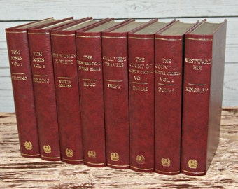 8 x Hand Bound Gift Edition Classic Novels: Gulliver's Travels, Tom Jones, Count of Monte Cristo, Woman in White, Westward Ho, etc