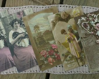 Lot of 5 cards postcards love vintage n2