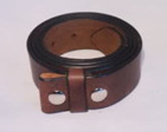 Dark Brown Leather Belt Strap Handemade to Measure Italian Full Grain Leather Waist Size Measurement Snap On Press Stud American Buckle