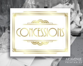 "Printable Art Deco Sign - ""CONCESSIONS"" White and Gold Gatsby Party digital file - ADWG1"