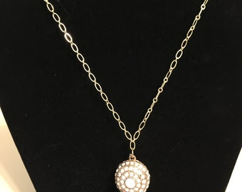 Gold Chain Necklace with White and Gold Pendant with Free Shipping