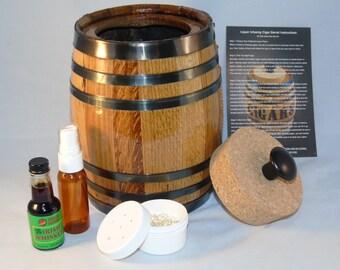 Cigar Infusing Oak Barrel Humidor Kit With Flavored Essence