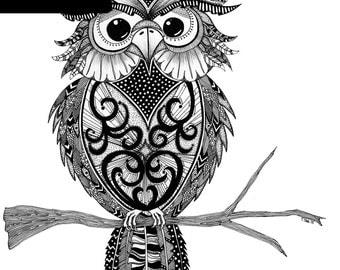 Owl Print - A4 Unframed Black & White Illustration