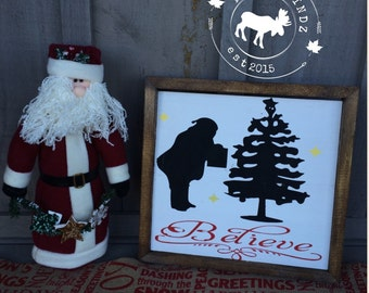 Believe Framed Wood Christmas Sign