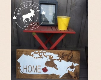 Canada Home Map Wood Sign