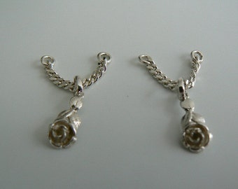 Silver nipple chains rose (set) for barbell 14ga