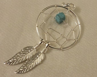 Dream Catcher charm, sterling Silver dream catcher charm with Synthetic Turquoise