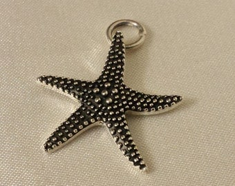 Starfish pendant, sterling silver star fish pendant, starfish charm
