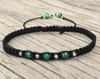 Malachite Bead Macrame Bracelet, Macrame Anklet, Cord Macrame Friendship Bracelet, Green Bracelet, Macrame Jewelry, Gift for Her, Malachite