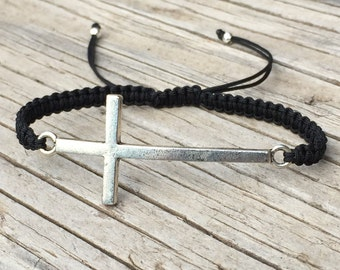 Cross Bracelet, Adjustable Cord Macrame Friendship Bracelet, Cross Jewelry, Gift for Her, Religious Jewellery, Small Gift, Macrame Jewelry