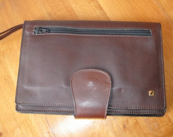 Vintage genuine leather burgundy red wrist bag  with checkbook  cover wallet inside in very good condition