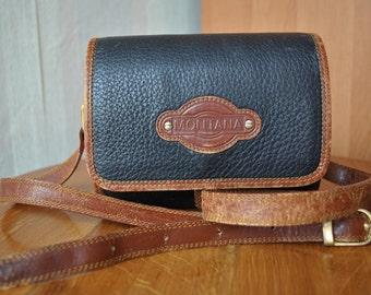 Vintage Montana small navy brown genuine leather oval shoulder bag cross body bag