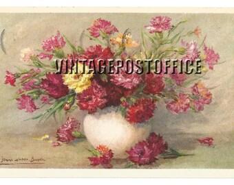 Vintage flower postcard, Suisse vintage postcard, no stamp, rubber stamp world exposition 1958 Brussels, edition Stehli number 941