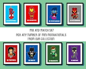 Superhero and Villain Wall Art, 5X7, Mini-Motivationals, geek art, superhero nursery, kids room, playroom