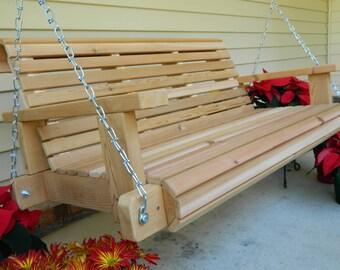 Cedar Porch Swing, 4ft-5ft Swing, Handmade Southern Style Heavy Duty Wood Swing,Free Shipping