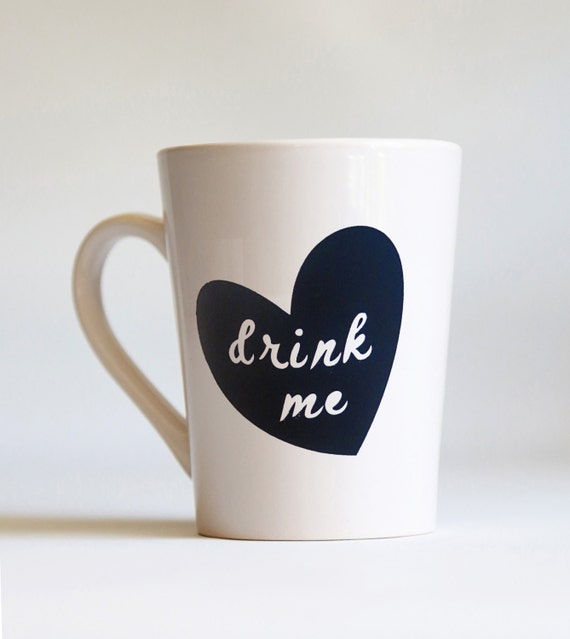 Drink Me Heart Shaped Design Coffee Mug Personalized