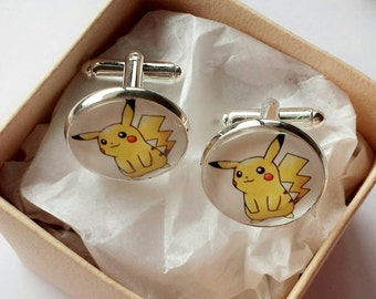 Pokemon Glass Cufflinks - Silver Plated - Made to order