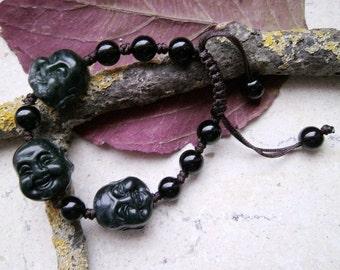 Jade, Buddha - head, strap, Mala, bracelet