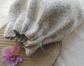 Polka Dot Linen Bread Bag - Linen Gift Bag - Rustic Linen Tote Bag - Linen Favor Bag- Toys Bag - Linen Candy Bag - Linen Easter Bag