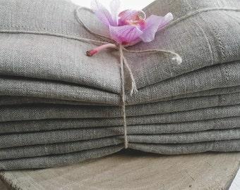 Natural  Linen Napkin Set of 8 - Grey Linen Napkins - Natural Gray Linen Napkins - Wedding Napkins - Rustic Table Decor - Christmas napkins