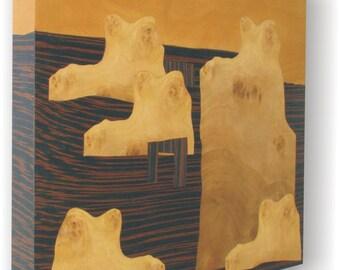 """Wood Art """"Mumo"""" Original Marquetry, Modern Wall Art,"""