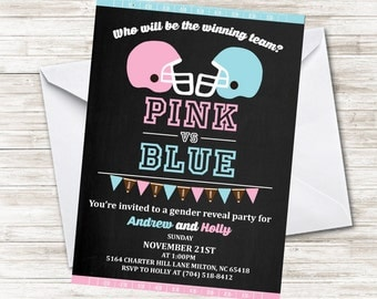 Football Gender Reveal Invitation Inivite 5x7 Chalkboard Pink Blue Sports Digital