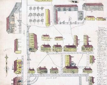 1849 Map of Shaker Village Canterbury New Hampshire