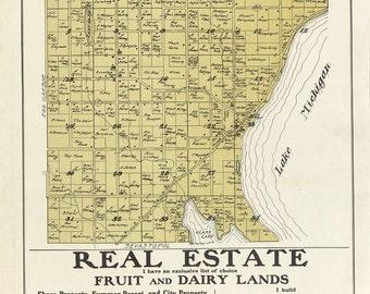 1914 Map of Jacksonport Township Door County Wisconsin
