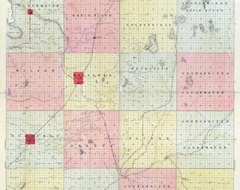 1898 Map of Kalkaska County Michigan