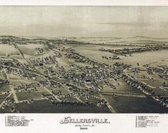 1894 Aerial Map of Sellersville Bucks County Pennsylvania