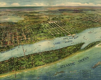 1915 Panoramic Map of West Palm Beach Florida