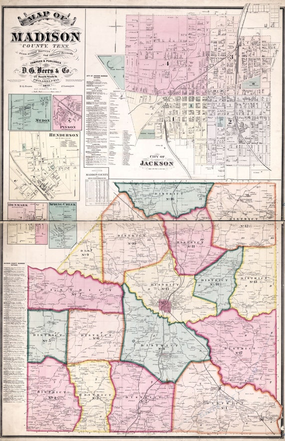 1877 Map of Madison County Tennessee Jackson