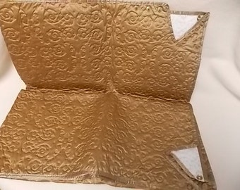Vintage Mid-Century Bronze Scroll Quilted Vinyl Card Table Cover with snaps