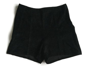 Vintage 70s Black Suede High Waisted Shorts