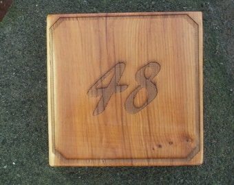 Small (14cm sq) natural hardwood house sign, free P&P