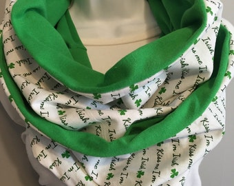 infinity scarf, kiss me im irish, gift ideas, gifts for her, scarf, irish, st paddys day, st patricks day, shamrock, accessories,